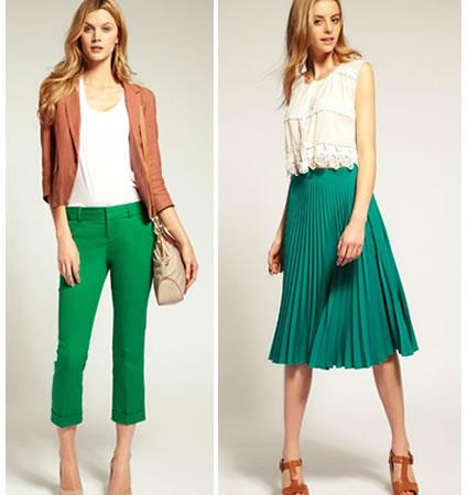 Damas combinando el color verde