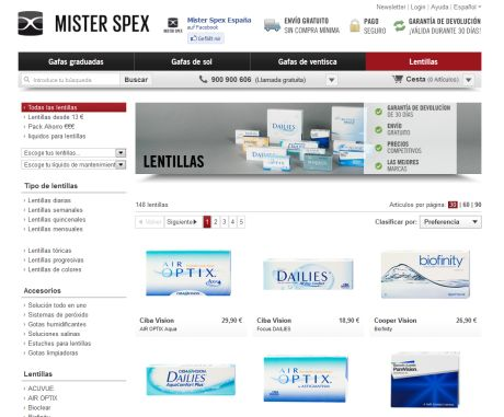 Lentillas en Mister Spex